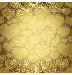 Gold seamless valentine pattern vector