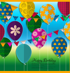 Birthday card with paper balloons bunting flags vector