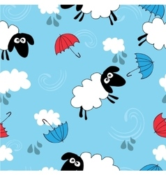 Seamless blue wallpaper with sheep vector