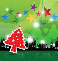 Christmas festival background in the city vector
