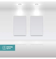 Empty white frames in art gallery vector