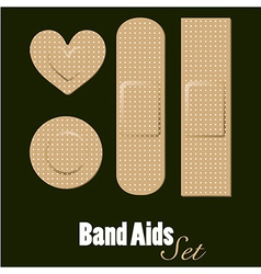 Band aids set of diferents forms vector