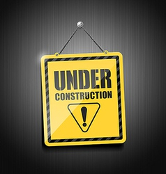 Under construction sign hanging with chain vector