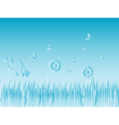 Grass and bugs vector