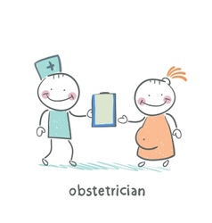 Obstetrician with a patient vector