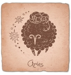 Aries zodiac sign horoscope vintage card vector
