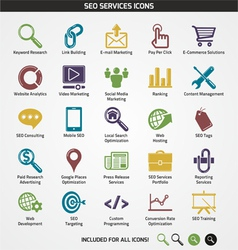 Seo services icons vector