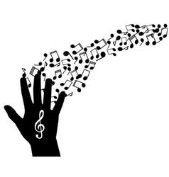 Hand notes and treble clef vector