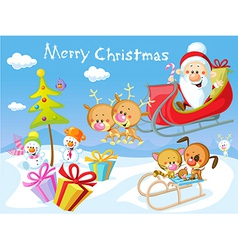 Merry christmas design with santa claus sleigh vector