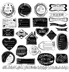 Set of handmade stamps for mail postage delivery vector