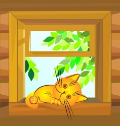 Cat on windowsill vector