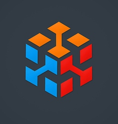 3d cube data abstract logo vector