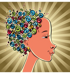 Girl with color curls hair vector