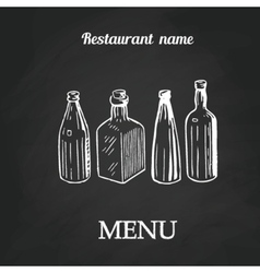 Chalk menu spoon fork and knife on abstract vector