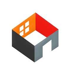 3d home construction interior logo vector