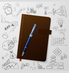 Notebook with doodles line drawing success vector