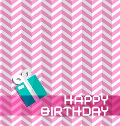 Happy birthday retro pink background with gift box vector