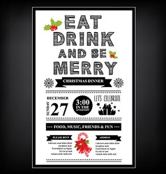 Christmas restaurant and party menu invitation vector