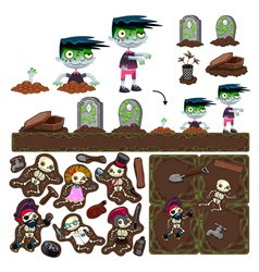 Set of game elements with zombie character vector