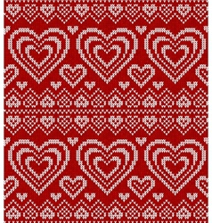 Valentines day red knitted seamless pattern vector