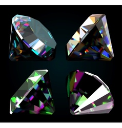 Set of jewelry gems on black background vector