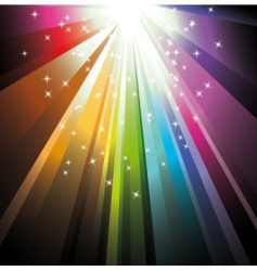 Rainbow light with delicate stars vector