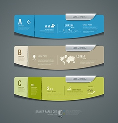 Banner colorful label paper cut for business vector