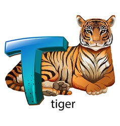 A letter t for tiger vector