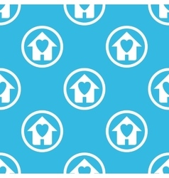 Love house sign blue pattern vector