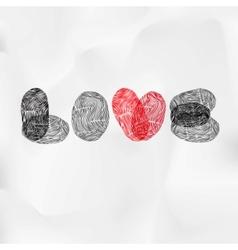 Word love written with fingerprint valentine card vector