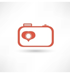 Red nice camera icon vector