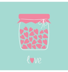 Love bottle jar with pink hearts inside card vector