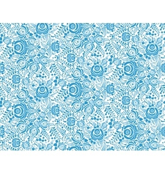 Blue floral textile seamless pattern in gzhel vector
