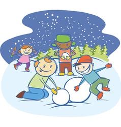 Kids making a snow man vector