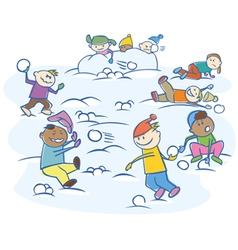 Kids playing snowballs isolated vector