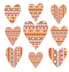 Tribal hearts set aztec vintage folklore vector