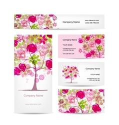 Business cards design pink floral style vector