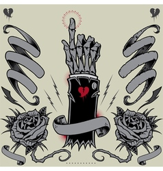 Skeleton hand ribbons roses and thunder vector