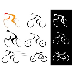 Racing cyclist bicyclist set vector