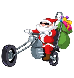 Santa with motorcycle vector