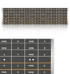 Notes on guitar fingerboard vector