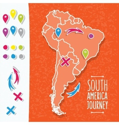 Orange hand drawn south america map with map pins vector