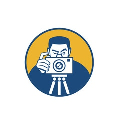 Photographer with camera retro vector