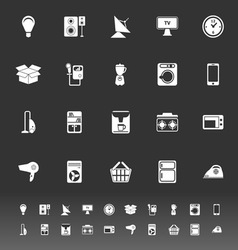 Home related icons on gray background vector