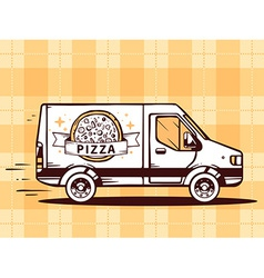 Van free and fast delivering pizza to cus vector