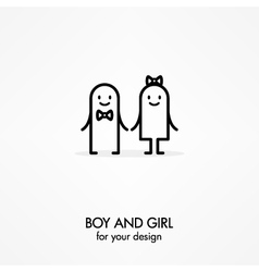 Cartoon boy and girl vector