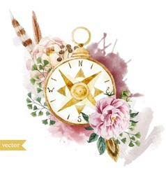 Watercolor compass vector