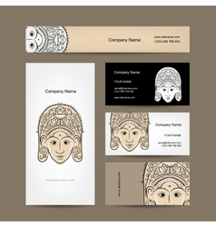 Wooden mask of indonesian dancer woman sketch for vector