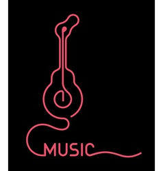 Guitar neon sign - vector