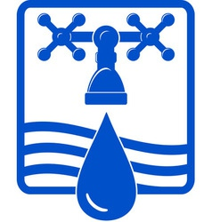 Water drop and spigot blue icon vector